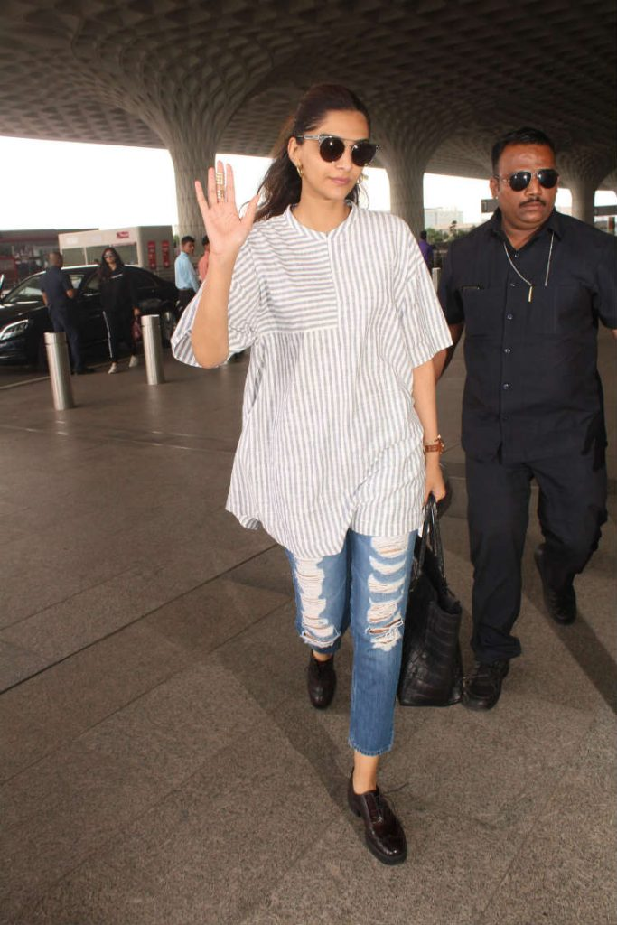 Sonam Kapoor at the airport in Bhane outfit