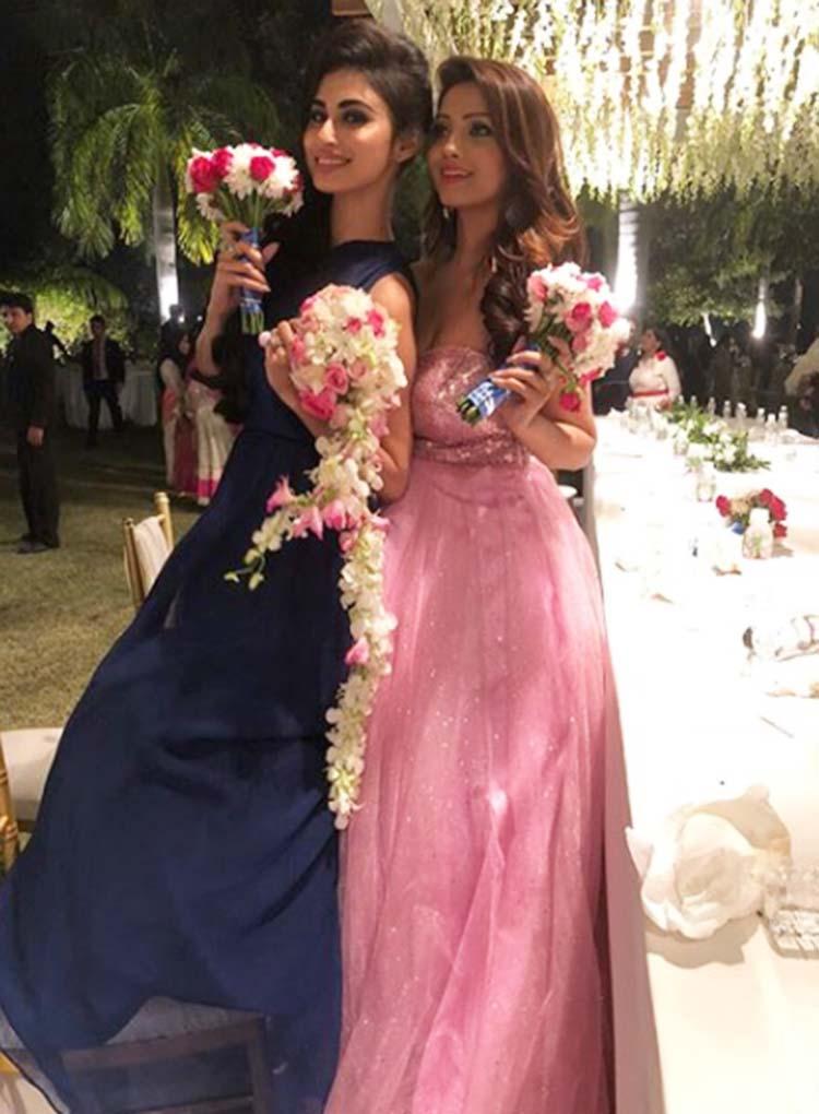 Mouni Roy with Adaa Khan at Aashka Goradia's wedding