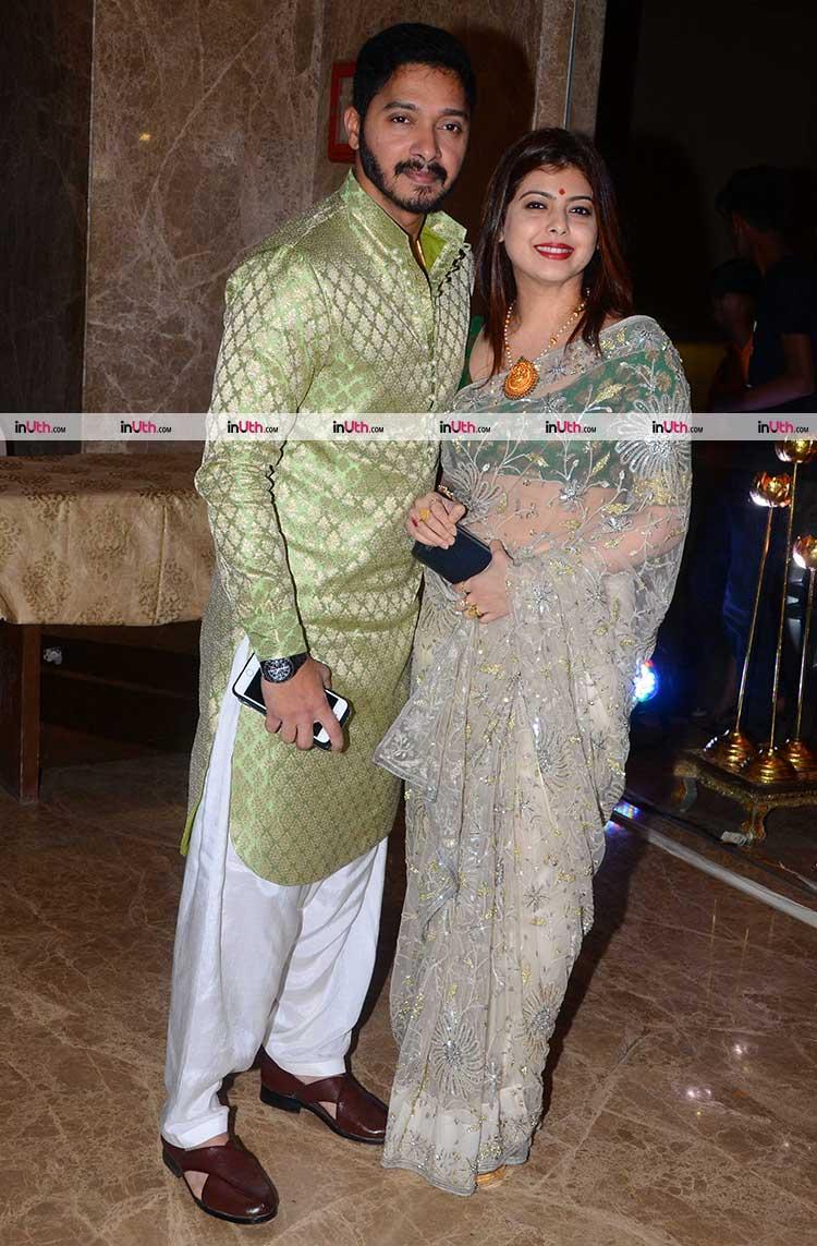Shreyas Talpade With Wife At Ramesh Tauranis Diwali Party