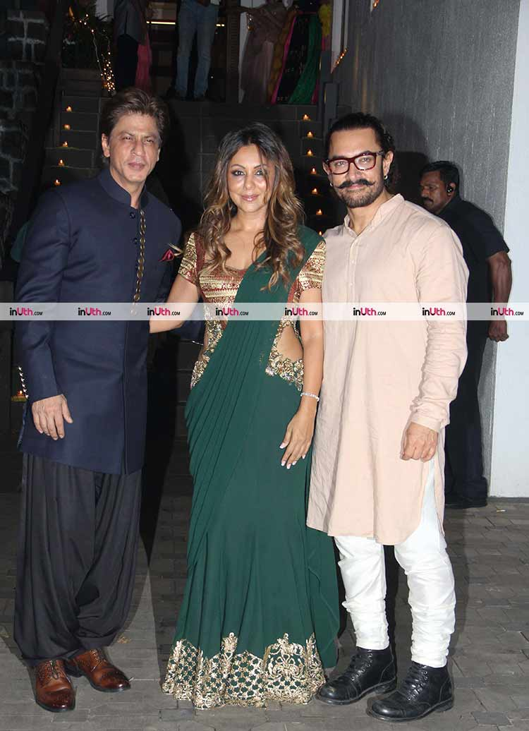 Gauri Khan with Aamir Khan at the Diwali party