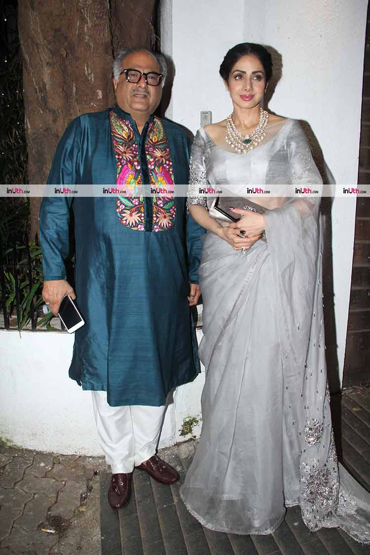 Sridevi and Boney Kapoor at Aamir Khan's Diwali party