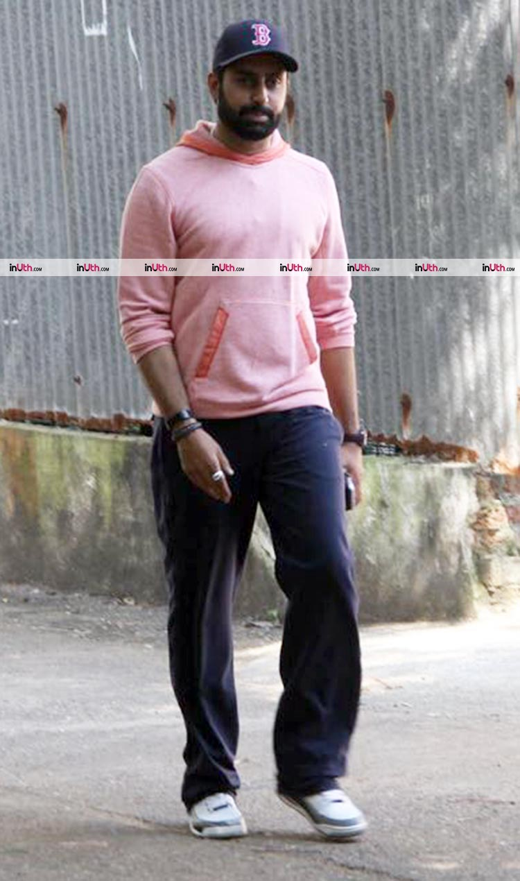 Abhishek Bachchan outside the Bandra building after the fire break out