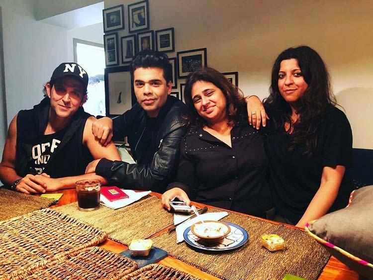Hrithik Roshan parties with Karan Johar, and Zoya Akhtar