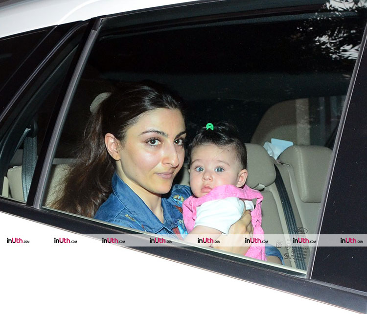 Inaaya Naumi spotted being cute in her mother's company