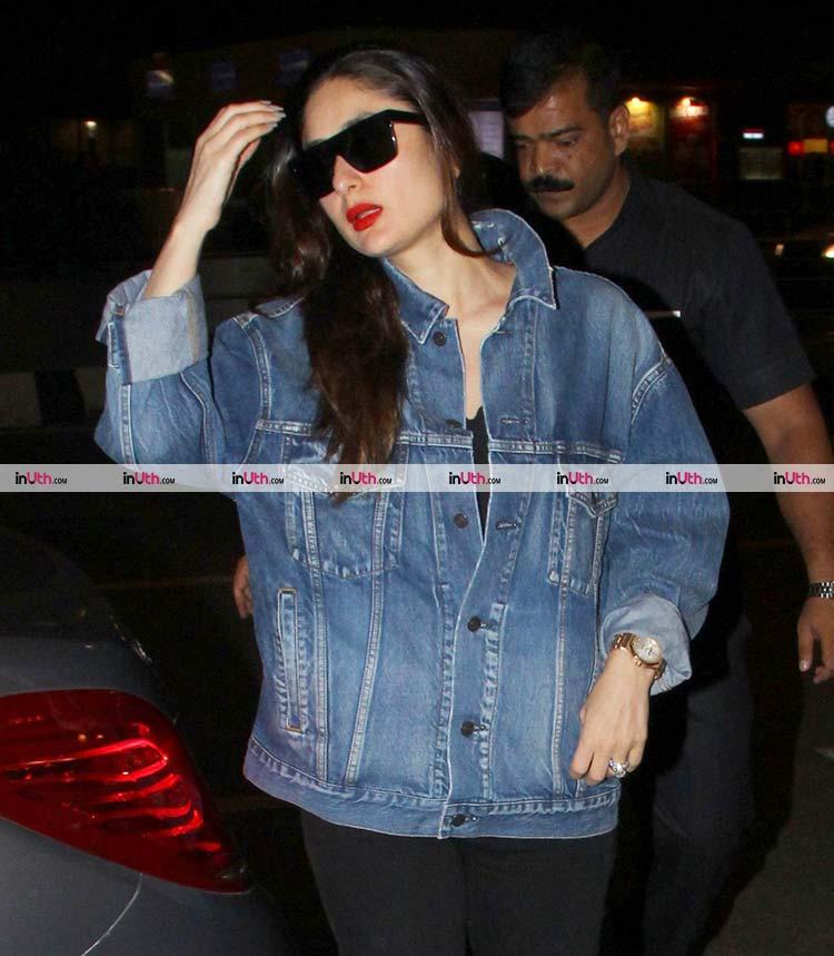 Kareena Kapoor at the Mumbai airport before leaving for Thailand