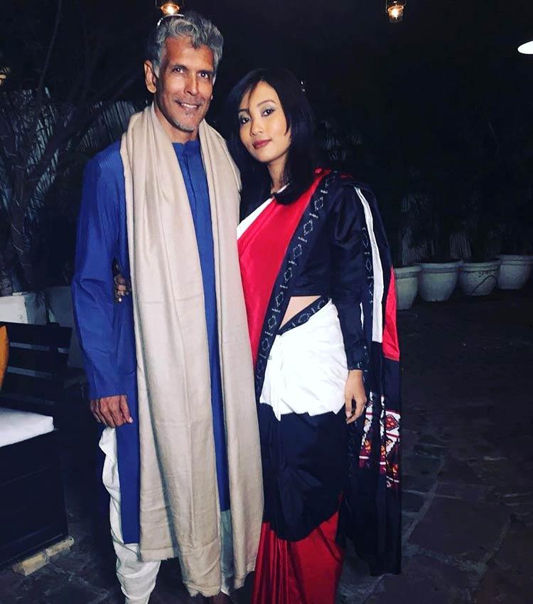 Milind Soman with Ankita Konwar at a Delhi wedding