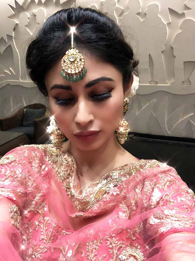 Mouni Roy all decked up for friend Aashka Goradia's Sangeet