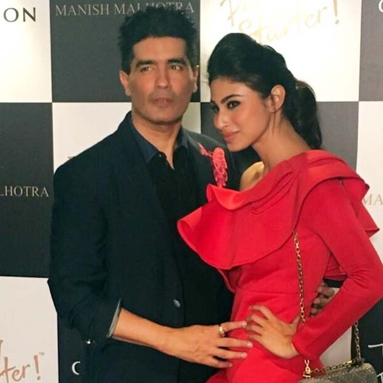 Mouni Roy with Manish Malhotra at his party