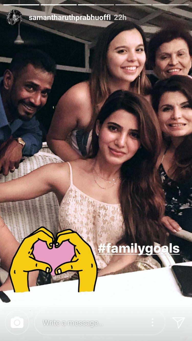Samantha Ruth Prabhu with her family during wedding celebrations