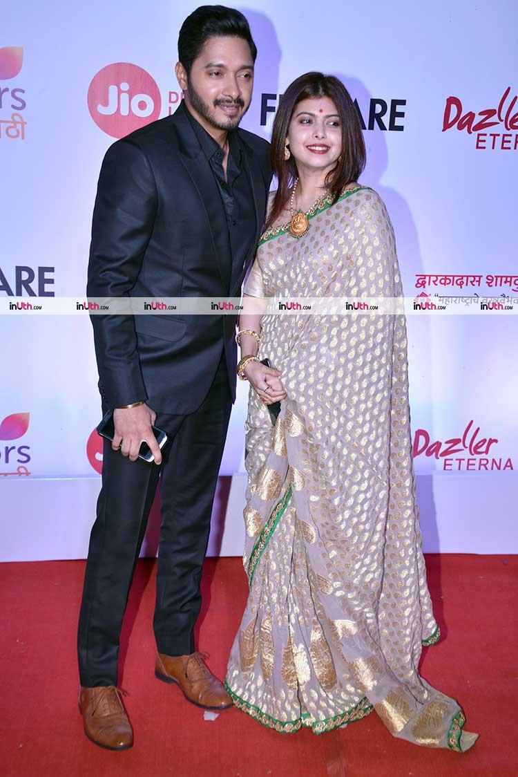 Shreyas Talpade With Wife At Filmfare Awards Marathi 2017