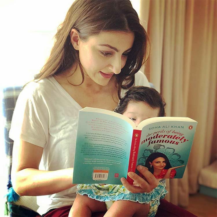 Soha Ali Khan's daughter gets a sneak peek into mommy's book