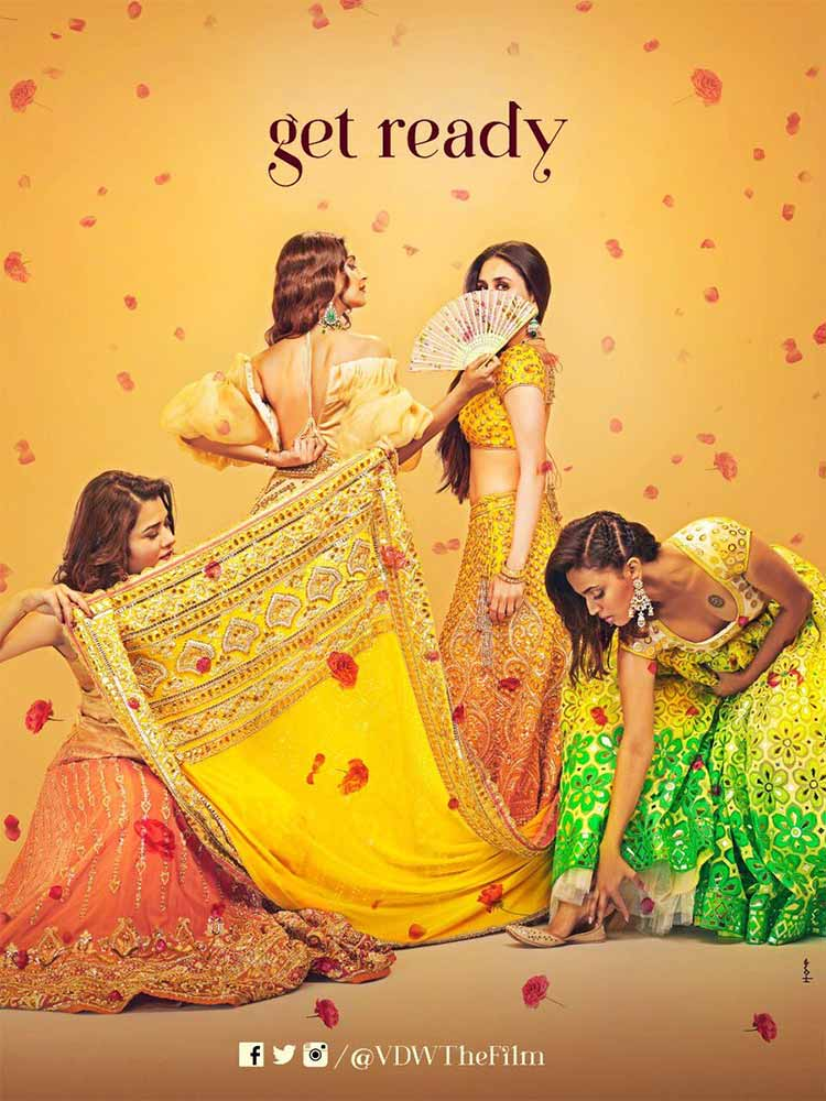 The girls are getting ready for some fun on the first poster of Veere Di Wedding