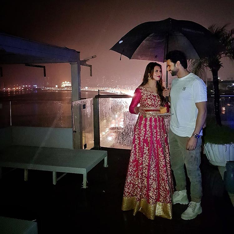 Vivek Dahiya and Divyanka Tripathi celebrate Karva Chauth amidst Mumbai rains