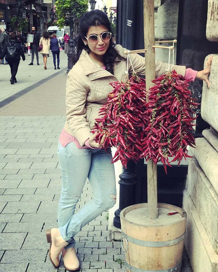 Ankita Bhargava picking some chillies in Budapest