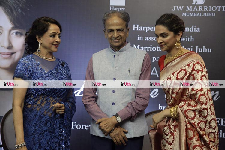 Deepika Padukone with Hema Malini at the latter's biography launch