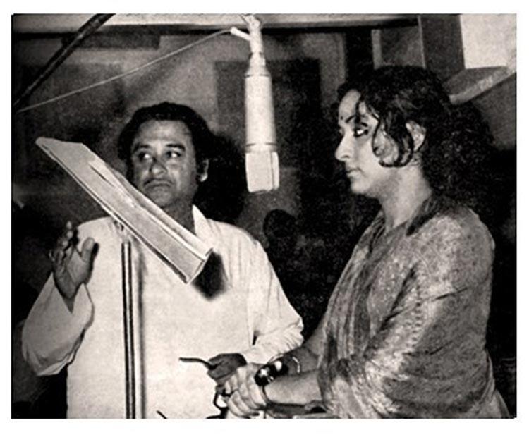 Hema Malini recording a song for Kishore Kumar