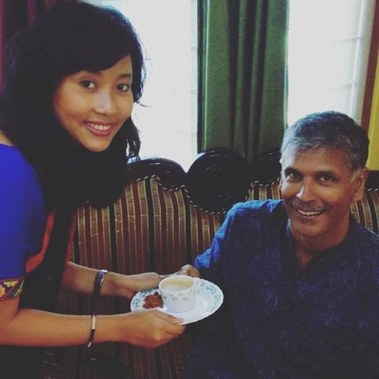 Milind Soman and Ankita Konwar having the loveliest tea time