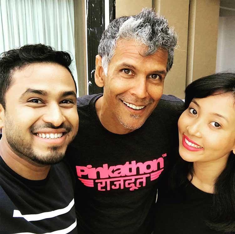 Milind Soman and Ankita Konwar with Abish Mathew