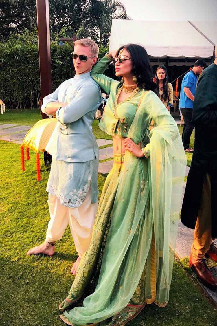 Mouni Roy with groom Brent Goble at Aashka Goradia's Mehendi ceremony