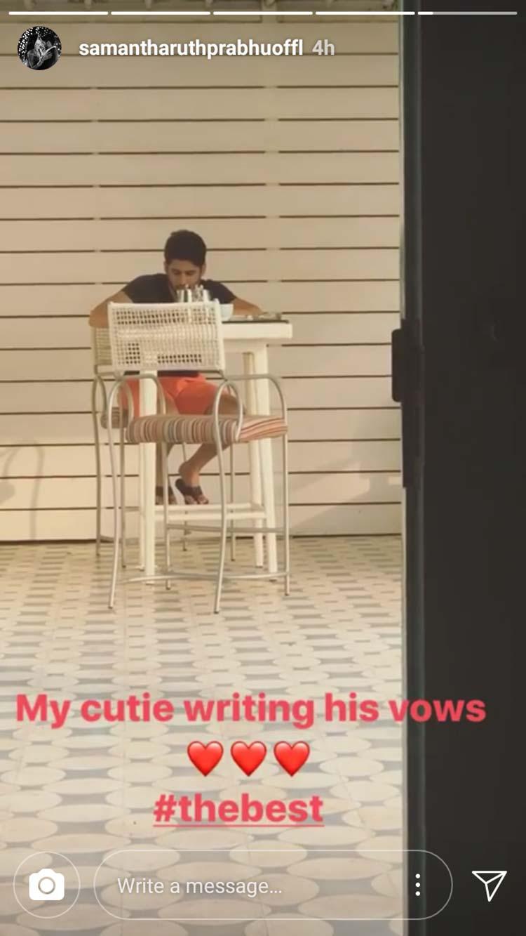 Naga Chaitanya writing his wedding vows