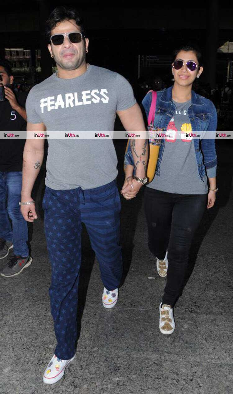 Karan Patel with wife Ankita Bhargava at Mumbai airport