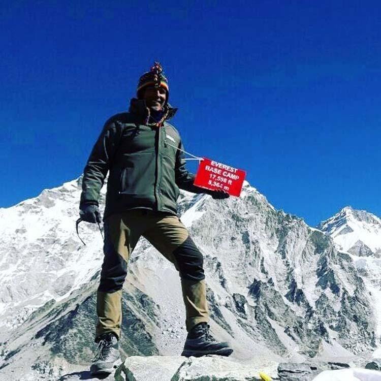 Milind Soman at the Everest base camp
