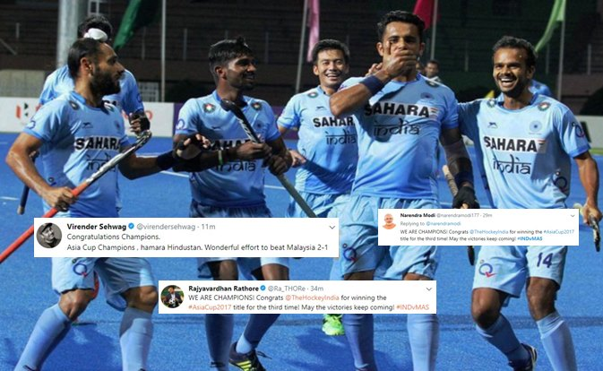 From Virender Sehwag to Rajyavardhan Rathore, Twitterati wish Indian Hockey Team for clinching Asia Cuptitle