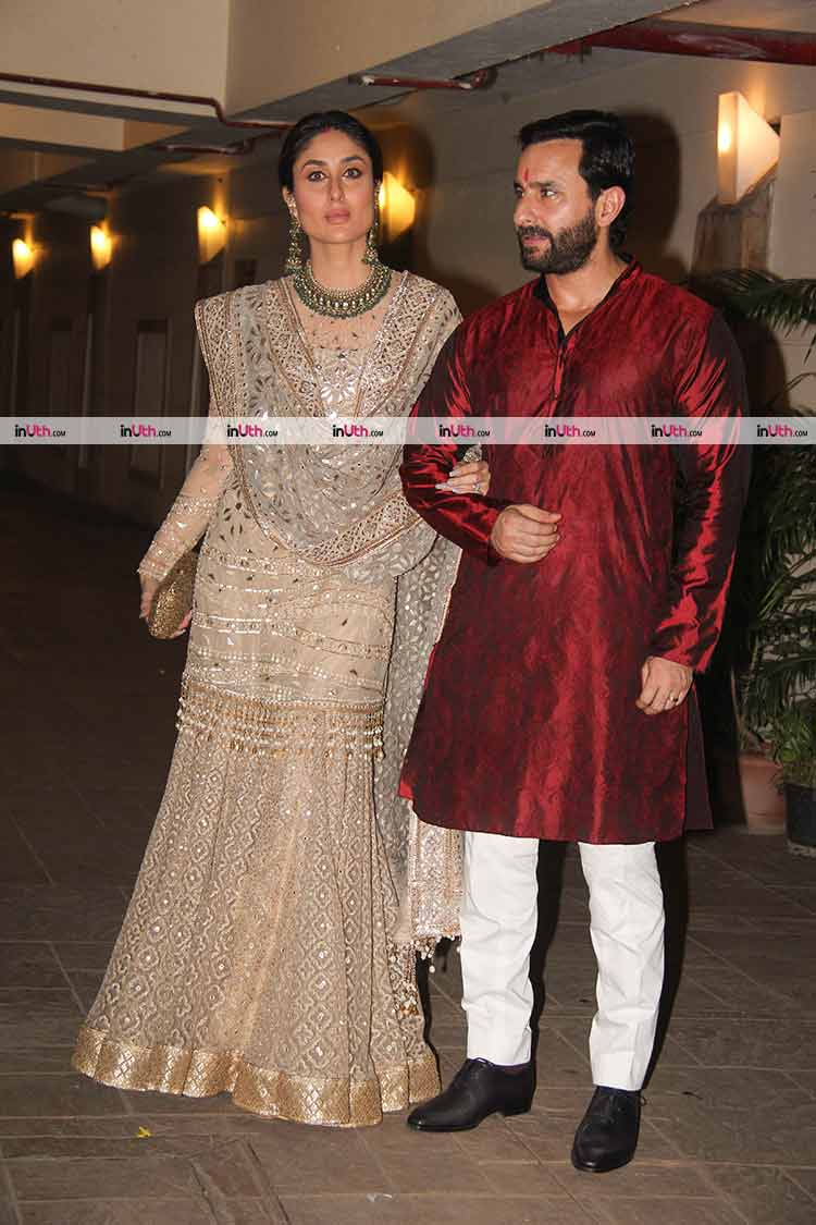 Kareena Kapoor and Saif Ali Khan at Soha Ali Khan's Diwali party