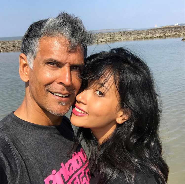 Milind Soman's lovely selfie with beautiful girlfriend Ankita Konwar