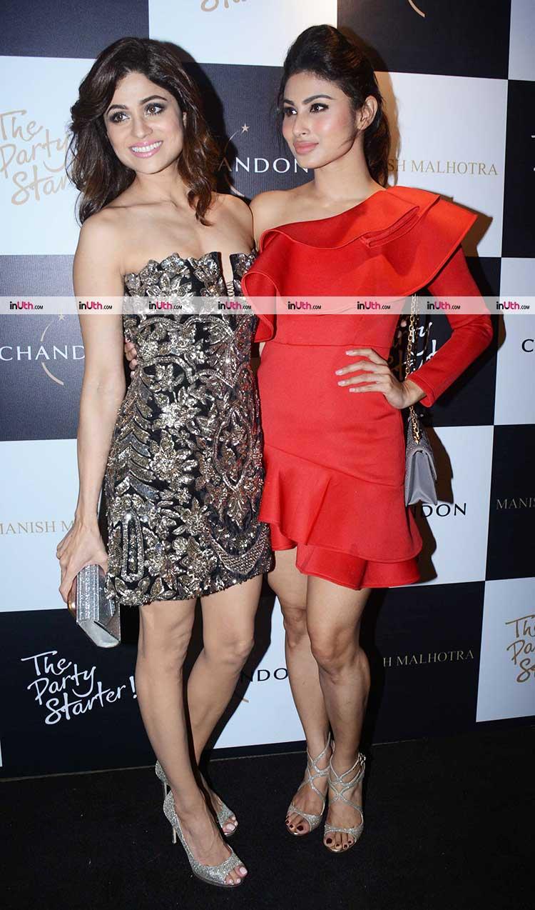 Mouni Roy with Shamita Shetty at Manish Malhotra's party