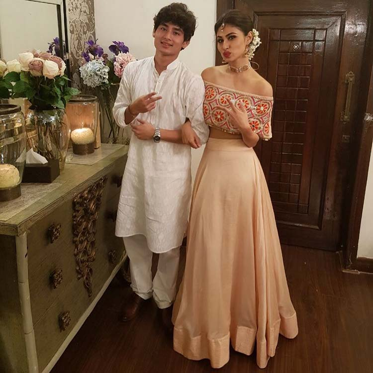 Mouni Roy with brother Mukhar Roy at the Diwali party