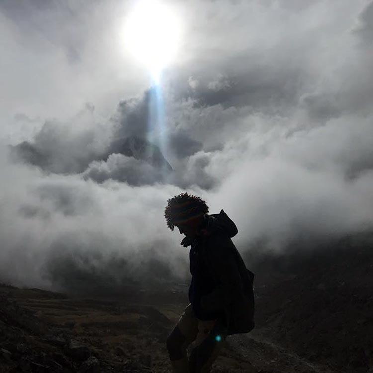 Milind Soman walking on the clouds