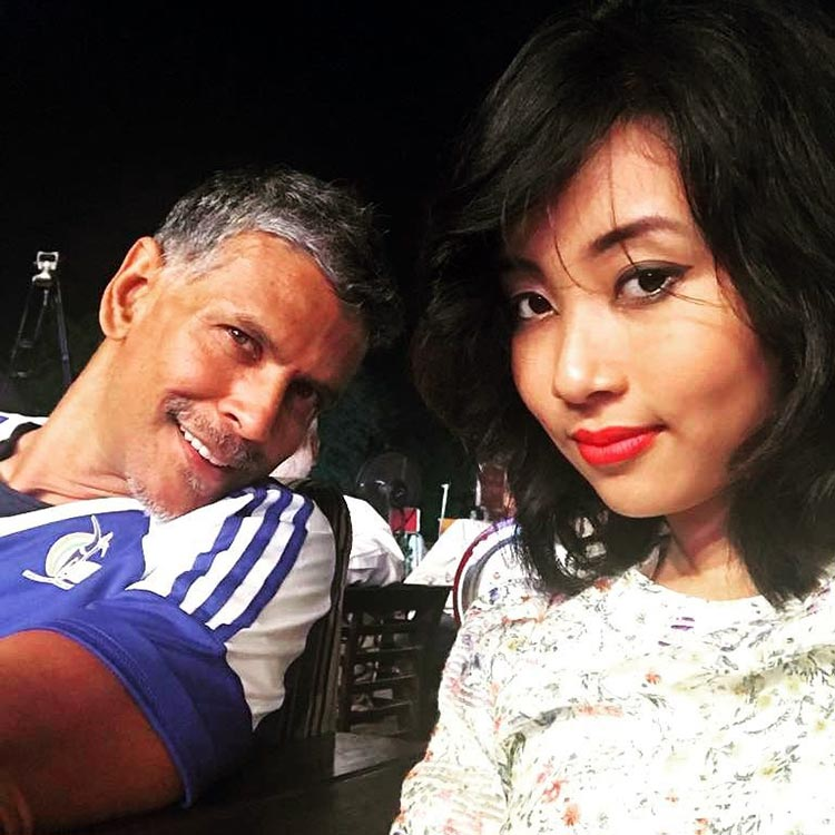 Milind Soman's cute selfie with girlfriend Ankita Sonwar