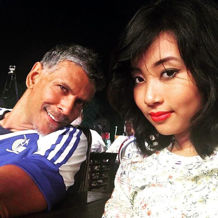 Milind Soman's cute selfie with girlfriend Ankita Sonwar