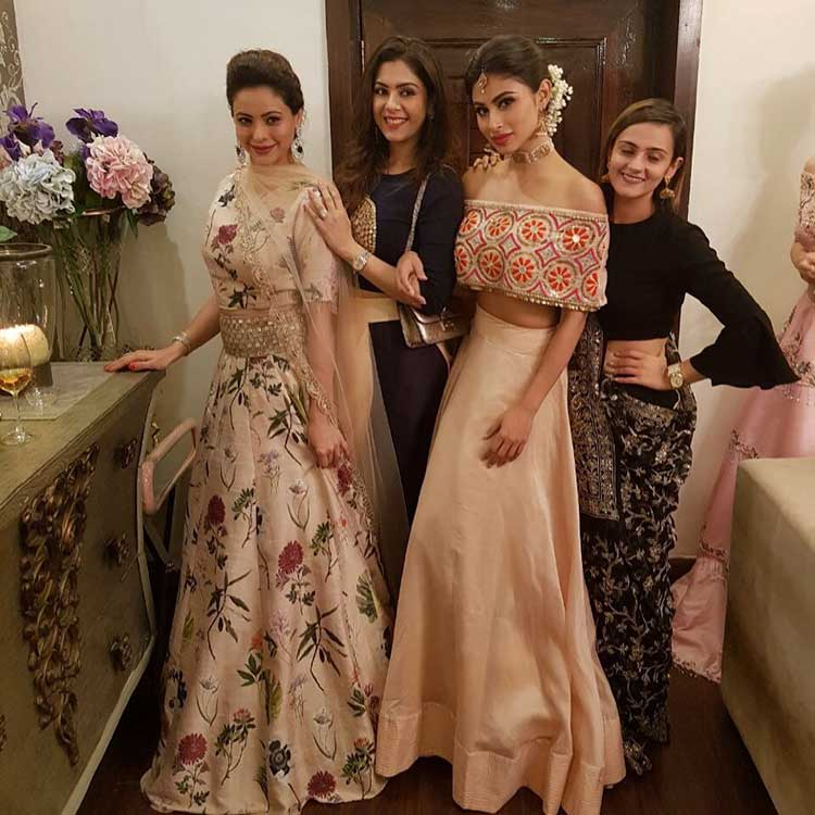 Mouni Roy with Aamna Sharif and friends at the Diwali party