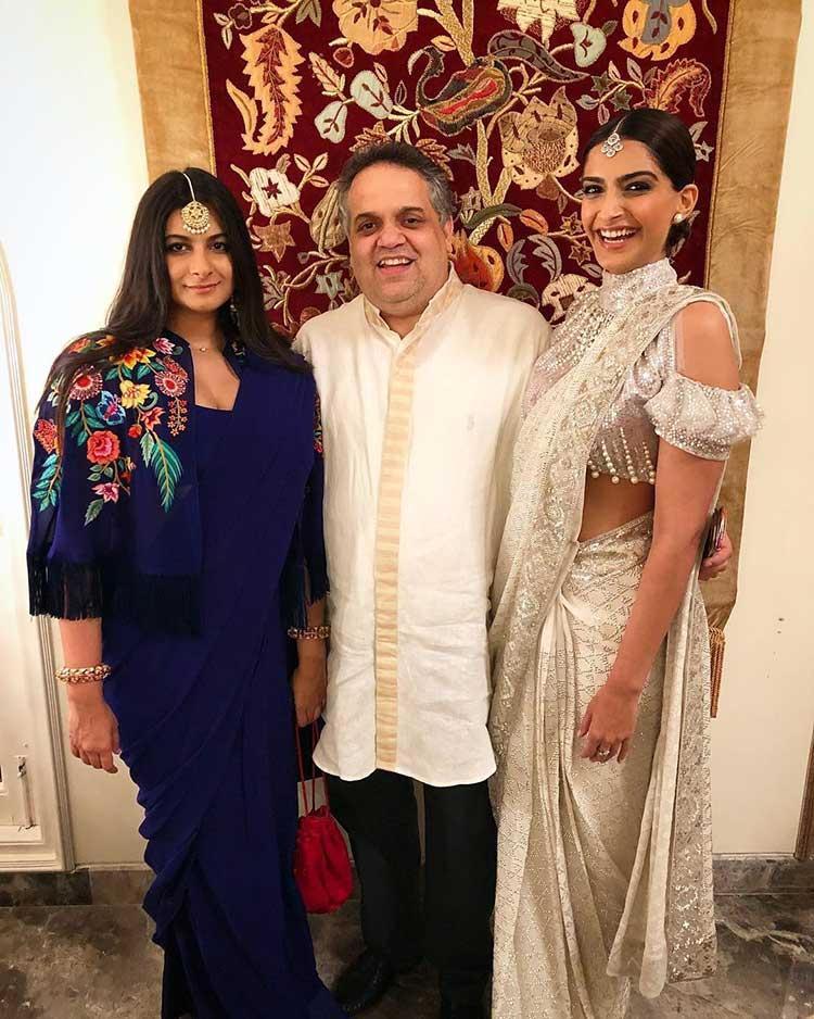 Rhea and Sonam Kapoor with Sandeep Khosla at Ekta Kapoor's Diwali party