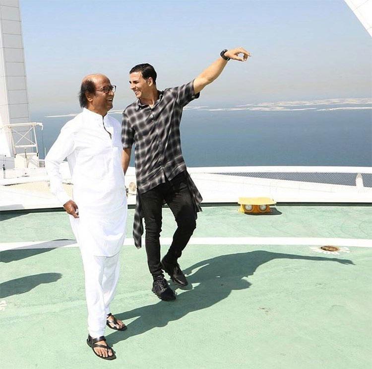 Akshay Kumar and Rajinikanth in Dubai for 2.0 music launch