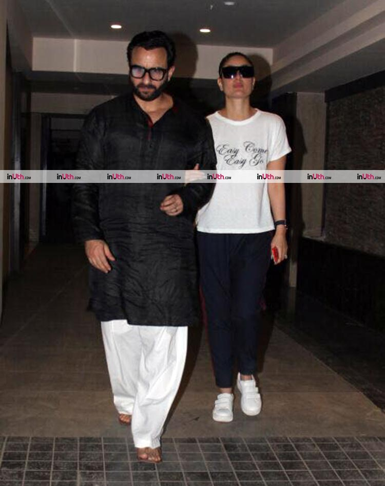 Kareena Kapoor and Saif Ali Khan walking hand-in-hand