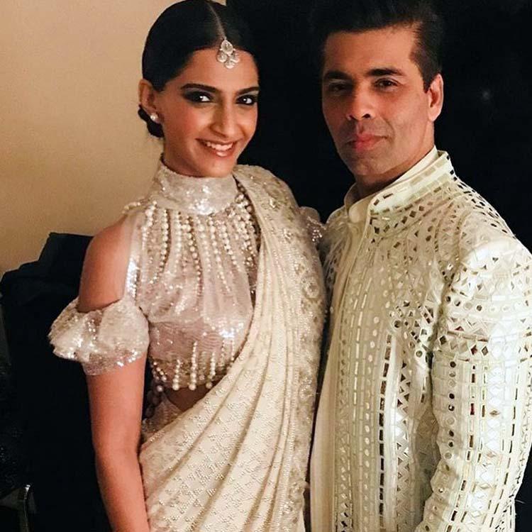Sonam Kapoor and Karan Johar at Ekta Kapoor's Diwali party