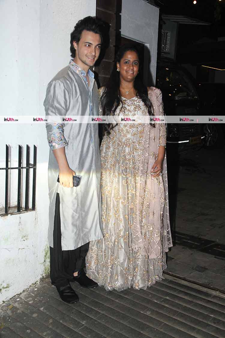 Arpita Khan and Aayush Sharma at Aamir Khan's Diwali party