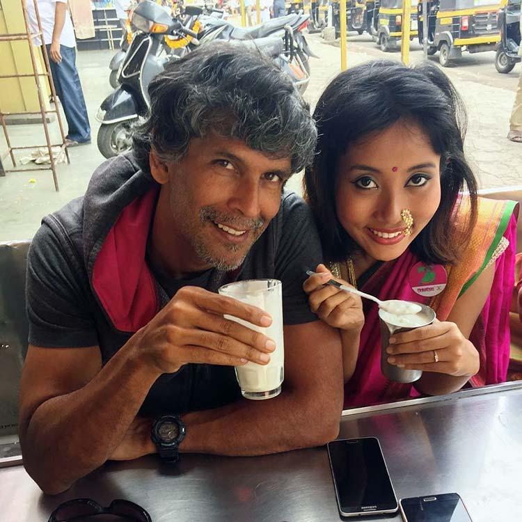 Milind Soman and girlfriend having a triple lassi treat in Pune