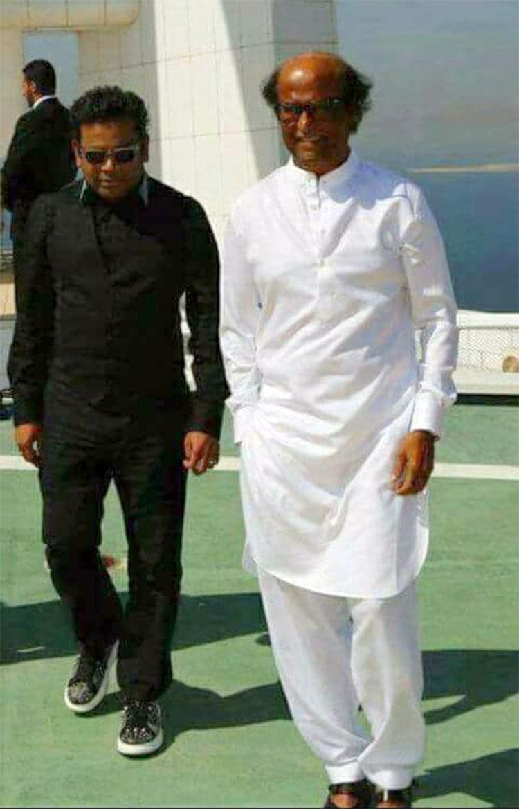 Rajinikanth with A.R. Rahman in Dubai for 2.0 music launch