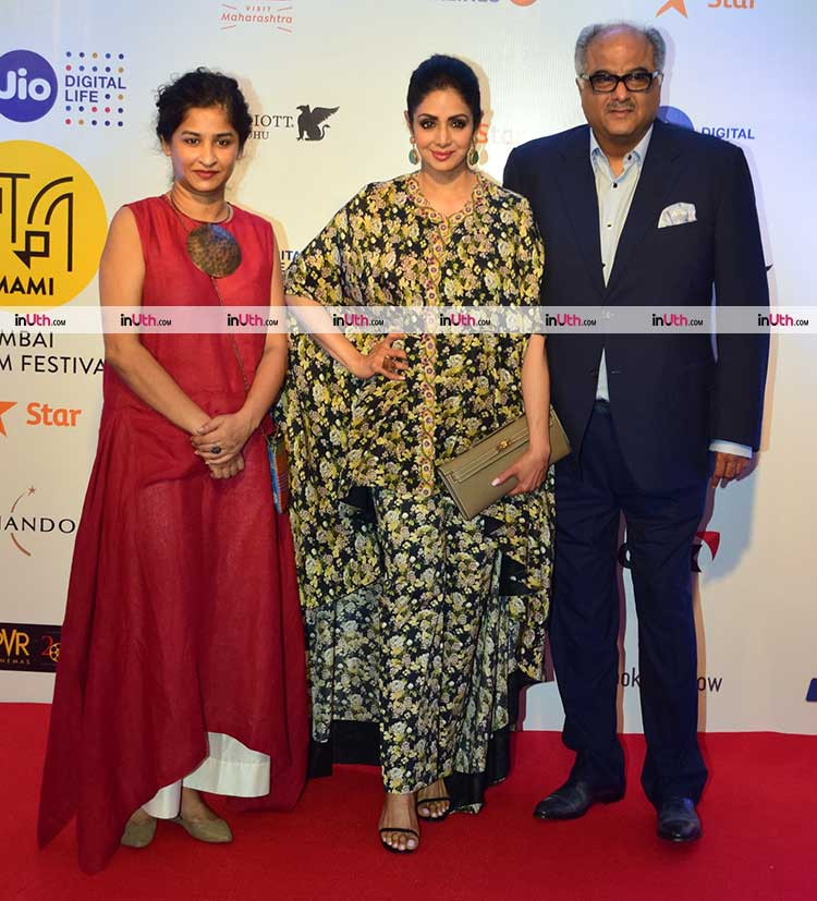Sridevi with Boney Kapoor at the MAMI film festival 2017 red carpet