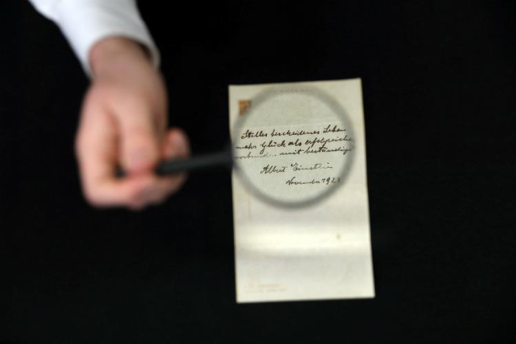 Albert Einstein, Handwritten Note, Auction