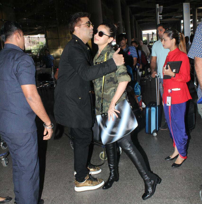 Alia Bhatt, Karan Johar at the airport