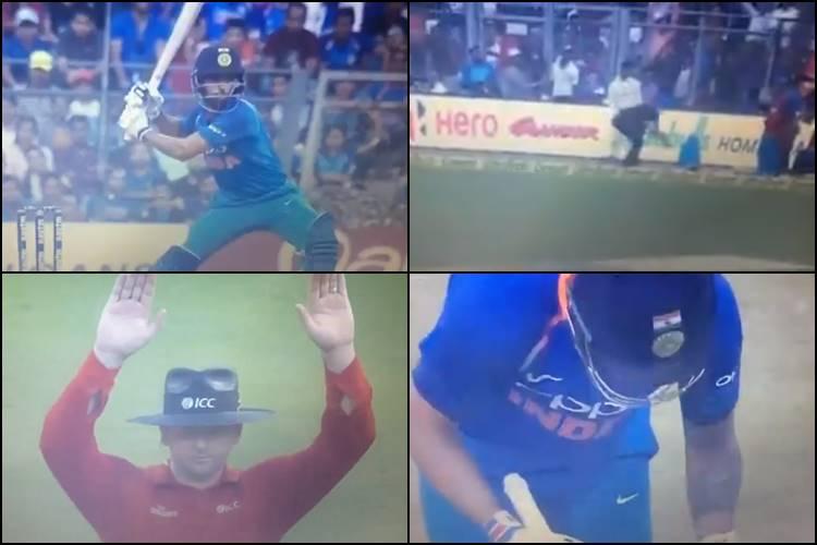 Surprised Virat Kohli bows down to Bhuvneshwar Kumar after he hits a six off Adam Milne — WatchVideo