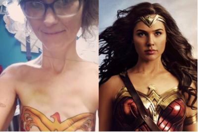 Cancer, Mastectomy, Scars, Wonder Woman, Tattoo