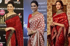 Deepika Padukone in a red saree