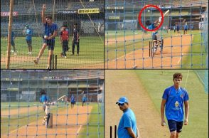 Arjun Tendulkar, left-arm bowler, Virat Kohli, Rohit Sharma, India vs New Zealand, Trent Boult, India vs New Zealand 5th ODI, Arjun Tendulkar bowling to Virat Kohli, Arjun Tendulkar bowling in India nets, Shikhar Dhawan, Arjun Tendulkar bouncer