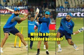 Virat Kohli left-handed, Rohit Sharma left-handed, Virat Kohli batting practice, Rohit Sharma, Kedar Jadhav, Hardik Pandya, MS Dhoni left-handed